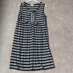 Max Studio black + white striped knit dress